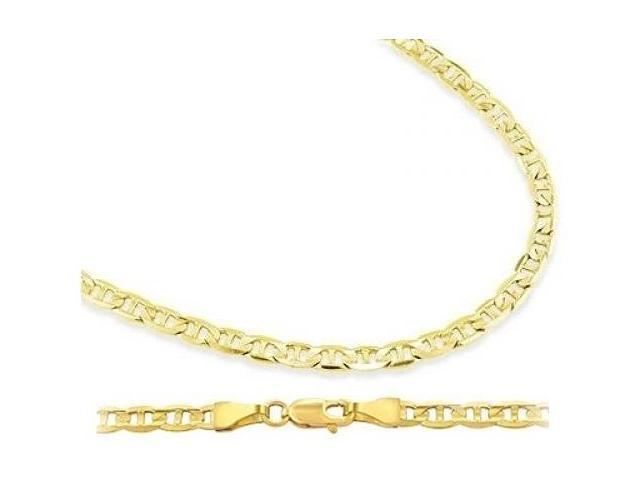 14k Yellow Gold Necklace Mariner Chain Solid Link 3.5mm - 24 inch