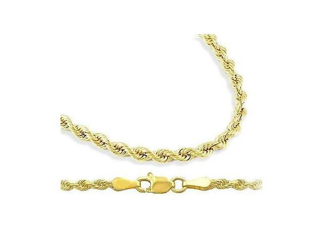 Mens Womens 14k Yellow Gold Chain Hollow Rope Necklace 2mm - 24 inch