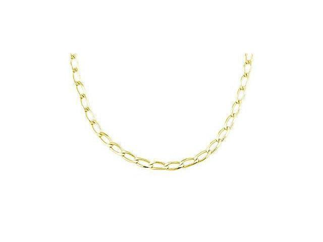Open Link Chain 14k Yellow Gold Necklace Solid 3.2mm - 22 inch
