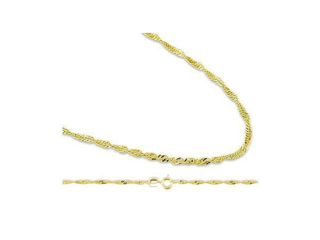 Singapore Necklace Twist 14k Yellow Gold Chain 1.4 mm - 18 inch
