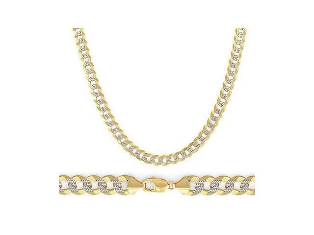 14k Pave Cuban Chain Necklace White Yellow Gold Two Tone Link 3.8mm - 18 inch