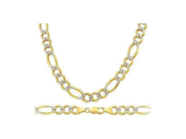 Heavy 14k Yellow White Gold Necklace Pave Figaro Link Mens Chain 7mm - 18 inch