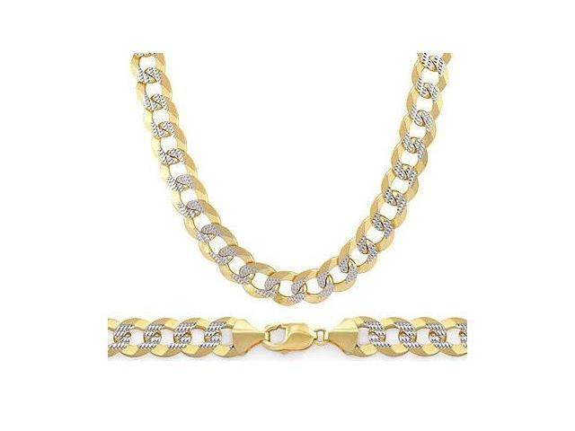14k Gold Necklace Pave Cuban Chain Multi Tone Yellow White Link 6mm - 24 inch