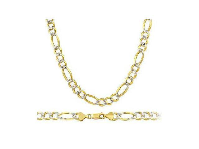 Pave Figaro Chain 14k Yellow White Gold Necklace Solid Multi Tone 4mm - 24 inch