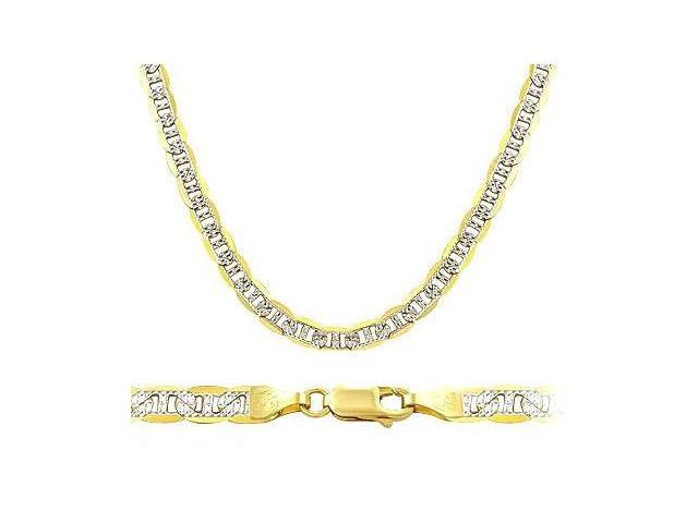 Pave 14k White and Yellow Gold Necklace Mariner Chain Solid Link 3.5mm - 24 inch