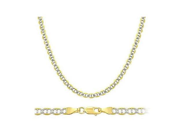 14k Yellow and White Gold Necklace Mariner Chain Solid Link Pave 3mm - 18 inch