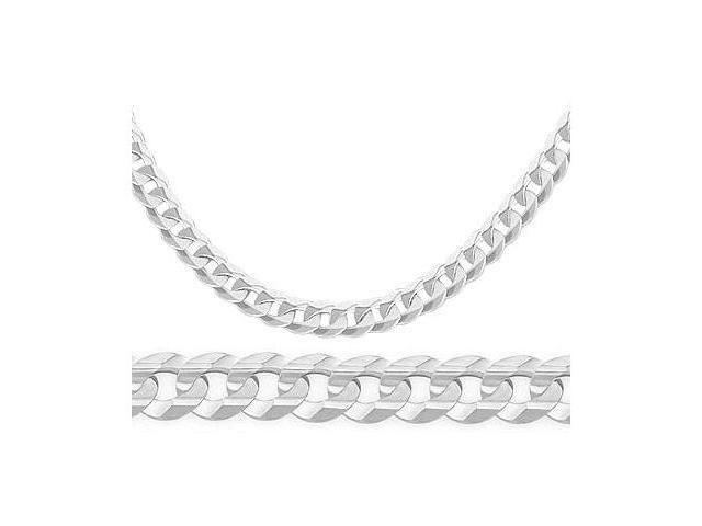 Cuban Curb Link 14k Solid White Gold Bracelet Solid 3.8mm 7.5 inches