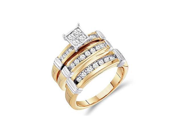 Diamond Engagement Rings Set Wedding Multi-Tone Gold Men Ladies .60ct