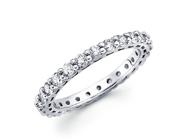 Round Diamond Eternity Band 14k White Gold Anniversary Ring (1.04 CTW)