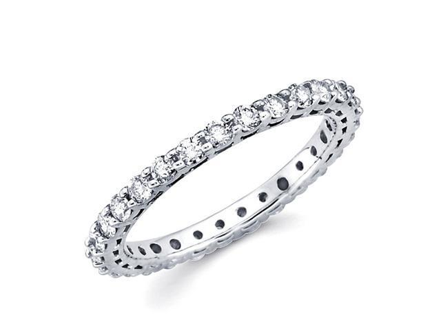 Round Diamond Eternity Ring 14k White Gold Wedding Band (0.95 Carat)