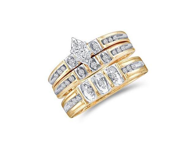 Diamond Engagement Rings Set Wedding Yellow Gold Men Ladies .25ct