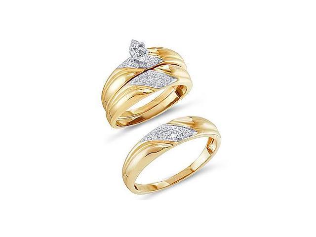 Diamond Engagement Rings Set Wedding Yellow Gold Men Ladies .29ct