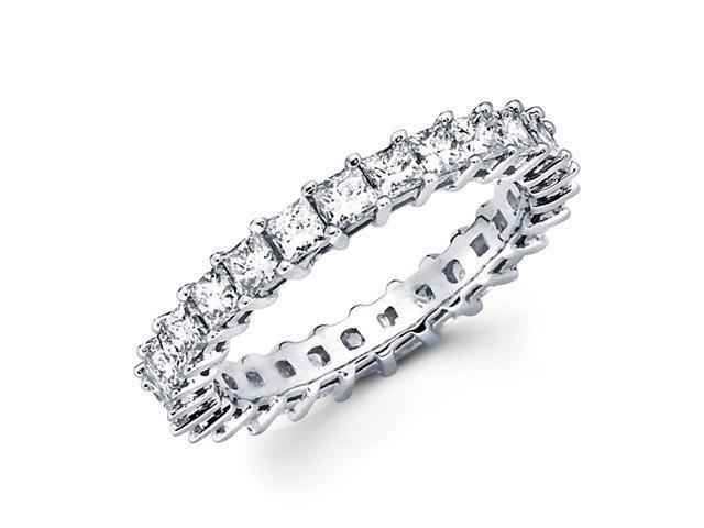 Princess Diamond Eternity Ring 14k White Gold Anniversary Band 2.39 CT