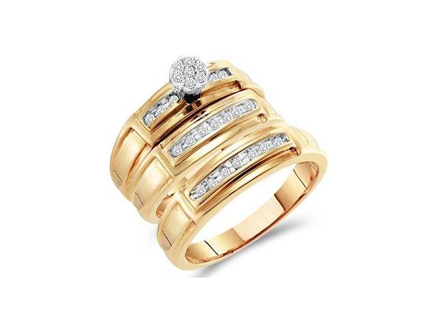 Diamond Engagement Rings Set Wedding Bands Yellow Gold Men Lady .22ct