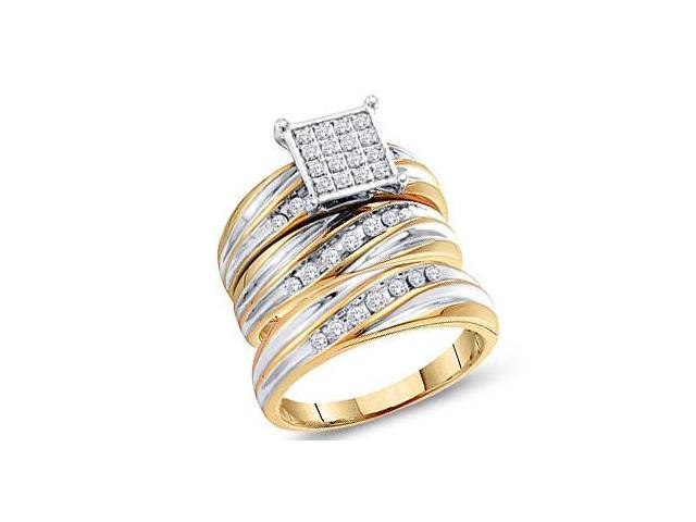 Diamond Engagement Rings Set Wedding Bands Yellow Gold Men Lady .52ct