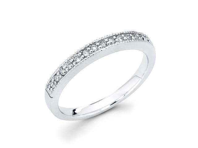 Diamond Wedding Band 14k White Gold Anniversary Ring (0.15 Carat)