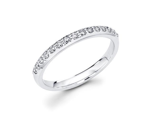 Diamond Wedding Band 14k White Gold Anniversary Ring (1/4 Carat)