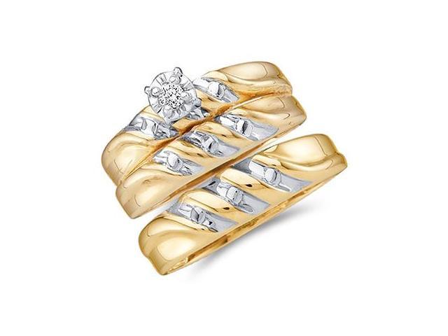 Diamond Engagement Rings Set Wedding Yellow Gold Men Ladies .07 carat