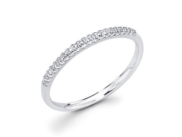Diamond Wedding Ring Round 14k White Gold Anniversary Band (1/10 CTW)
