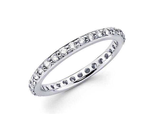 Round Diamond Eternity Band 14k White Gold Anniversary Ring (0.61 CTW)
