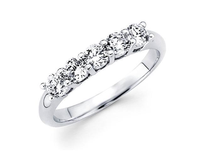 Round Diamond Anniversary Ring 14k White Gold Five Stone Band (1/2 CT)