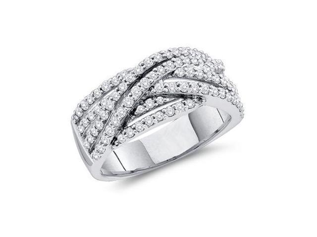 Diamond Fashion Ring 14k White Gold Bridal Anniversary Band (0.88 CT)