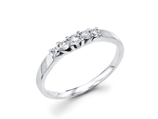 Women's Diamond Wedding Band 14k White Gold Anniversary Ring (1/5 CTW)