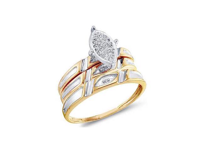 Diamond Engagement Rings Set Wedding Bands Yellow Gold Men Lady .04ct
