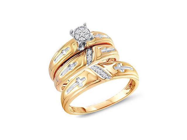 Diamond Engagement Rings Set Wedding Bands Yellow Gold Men Lady .11 CT