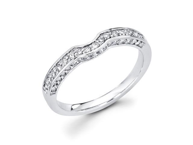 Women's Diamond Wedding Band 14k White Gold Anniversary Ring (1/4 CTW)