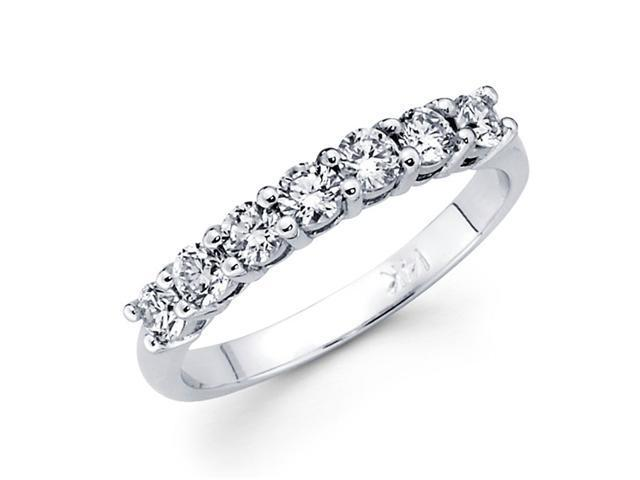 Seven Stone Round Diamond Wedding Band 14k White Gold Ring (0.45 CTW)