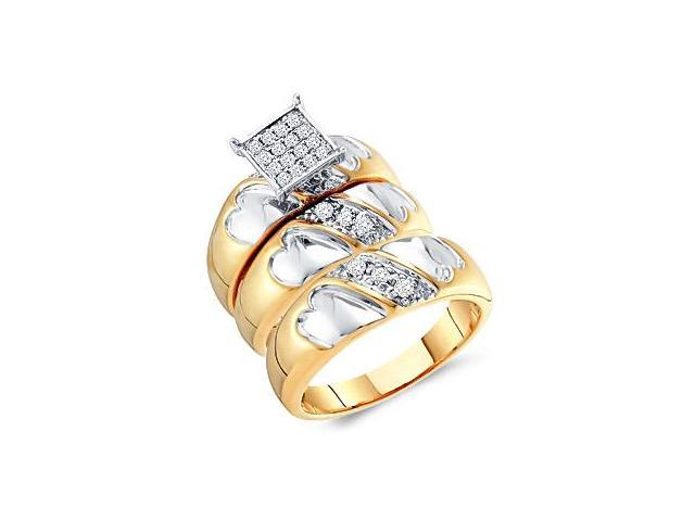 Diamond Engagement Rings Set Wedding Multi-Tone Gold Men Ladies .32ct
