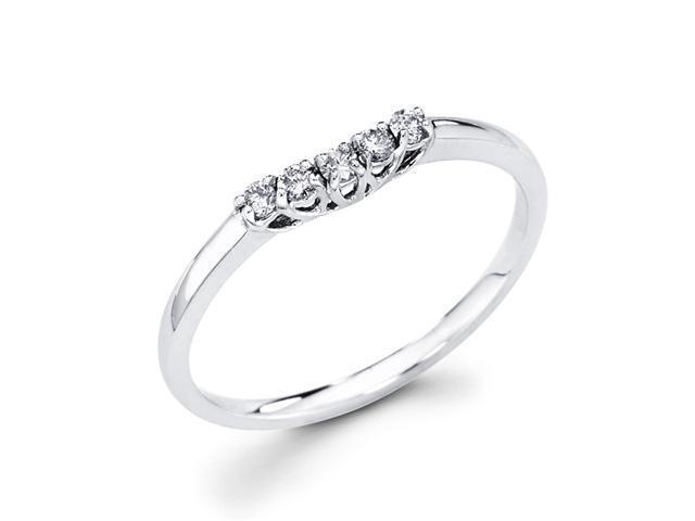 Ladies Diamond Wedding Band 14k White Gold Anniversary Ring 1/10 Carat