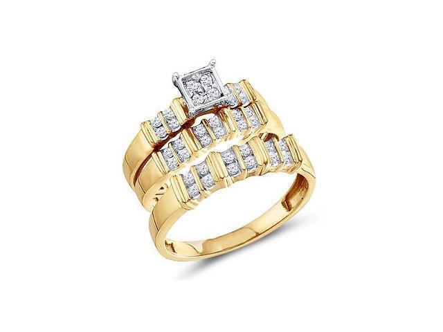 Diamond Engagement Rings Set Wedding Bands Yellow Gold Men Lady .30 CT