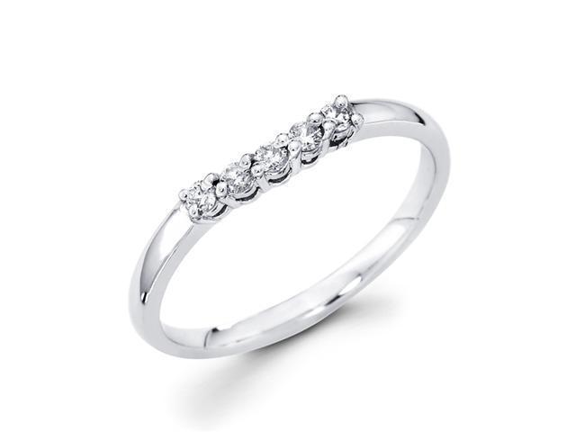 Ladies Diamond Wedding Band 14k White Gold Anniversary Ring (1/7 CTW)