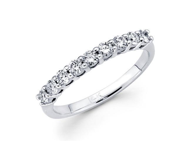 Round Diamond Wedding Ring 14k White Gold Anniversary Band (1/2 Carat)