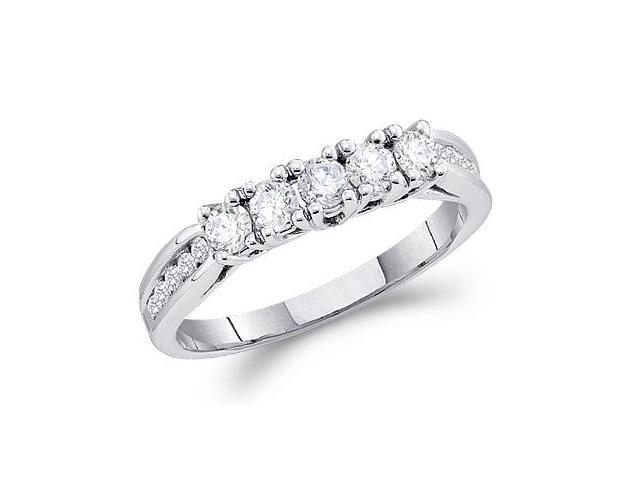 Diamond Wedding Ring 14k White Gold Anniversary Band (0.60 Carat)
