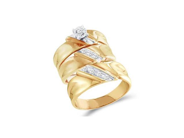 Diamond Engagement Rings Set Wedding Bands Yellow Gold Men Lady .21ct