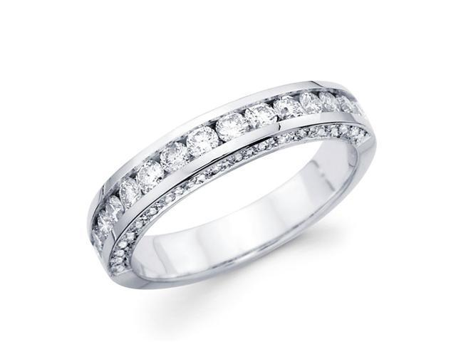 Diamond Wedding Band 14k White Gold Anniversary Round Channel (1.05ct)