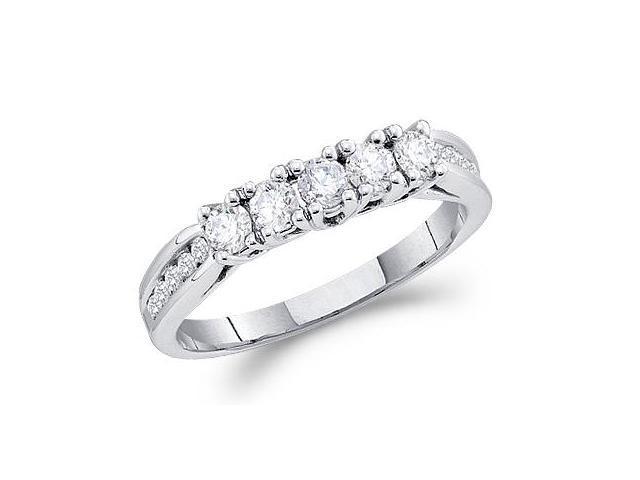 Diamond Wedding Ring 14k White Gold Anniversary Band (0.60 Carat)