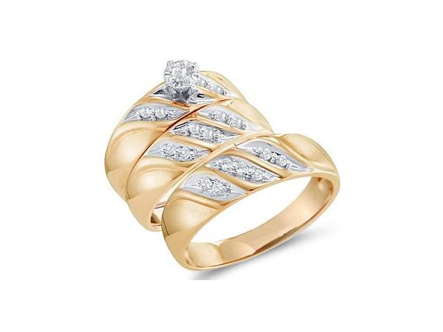 Diamond Engagement Rings Set Wedding Yellow Gold Men Ladies .20ct