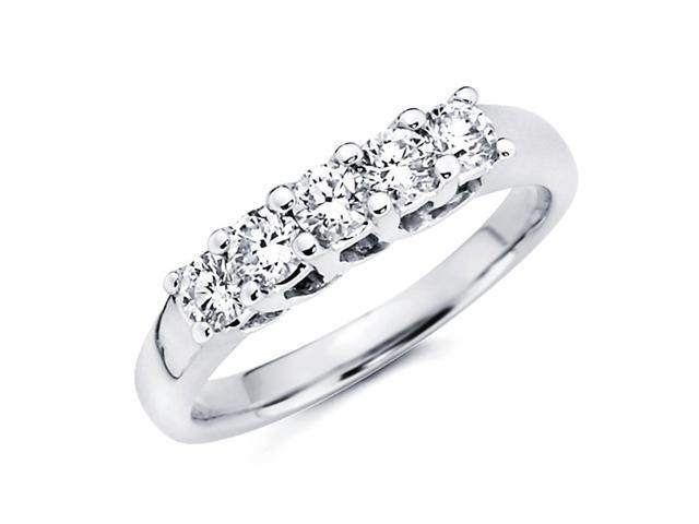 Five Stone Prong Set Diamond Wedding Band 14k White Gold Ring (0.42ct)