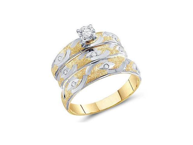 Diamond Engagement Rings Set Wedding Yellow Gold Men Lady .15 carat
