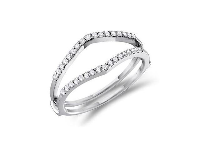 Diamond Ring Guard 14k White Gold Wedding Engagement Band (1/4 Carat)