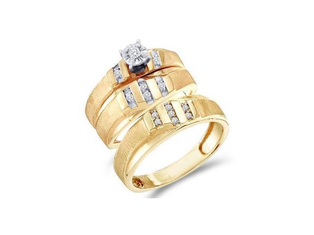 Diamond Engagement Rings Set Wedding Bands Yellow Gold Men Lady .18 CT
