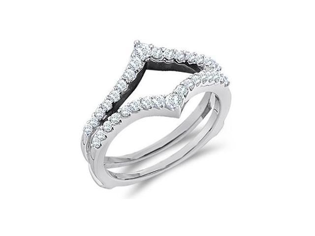 Diamond Engagement Ring Guard 14k White Gold Wedding Band (1/2 Carat)