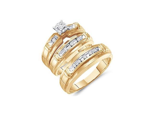 Diamond Engagement Rings Set Wedding Yellow Gold Men Lady .20 carat