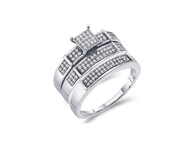 Diamond Engagement Rings Set Wedding Yellow Gold Men Lady .30ct