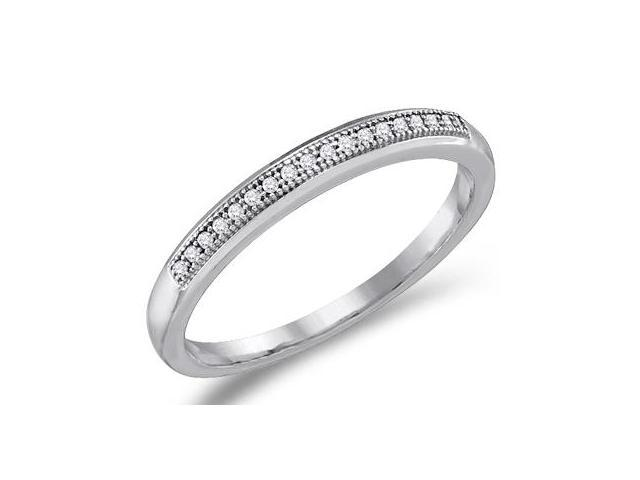 Diamond Wedding Band 10k White Gold Anniversary Ring Micro Pave