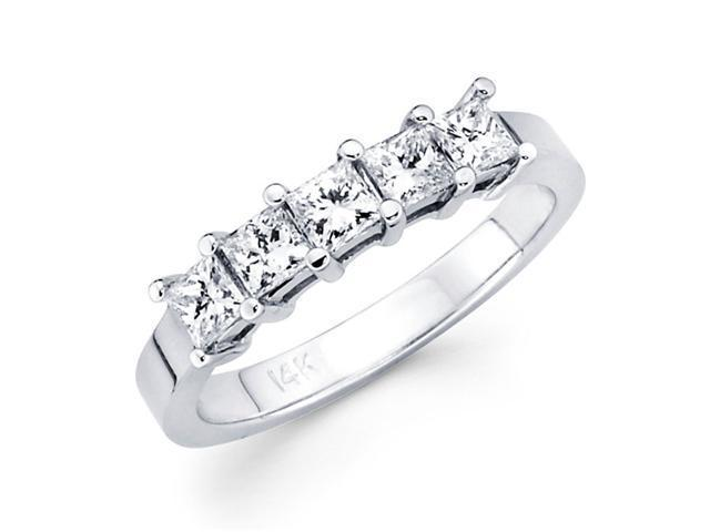 5 Stone Princess Diamond Wedding Ring 14k White Gold Band (1/2 Carat)